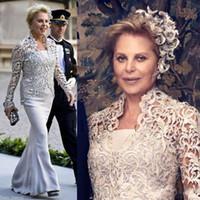 vestidos de noite mães venda por atacado-Vintage Sem Alças Mãe dos Vestidos de Noiva Com Jaqueta de Renda Barato Mães Vestidos Plus Size Sereia Mulher Vestidos de Noite Bolero