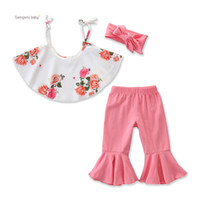 Wholesale pants baby sling resale online - Retail girls boutique outfits summer cute sling floral Top flare pants sets with headband baby tracksuit kids designer clothes clothing