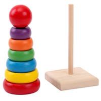 ingrosso impilamento del bambino-Baby Blocks Stack Up Toy Rainbow Tower Creativo colorato in legno Fai da te Mini Brain Game 4 1my F1
