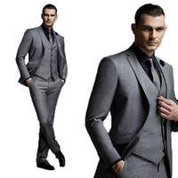 темно-серый жених смокинг оптовых-High End Handsome Slim Fit Dark Gray Tailored Mens Suit Groom Suit Wedding Tuxedo Men Costume Homme 3 Pcs(Jacket+Vest+Pant)