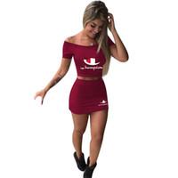 Wholesale girls summer tshirt dress resale online - Women Champion Letter Crop top Suit Summer Outfit Short Sleeve Crop Tshirt Shoulder Out Top Dress Short Tight Skirt Set Tracksuit A3152