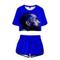 sıcak set baskı toptan satış-Nipsey Hussle 3d Baskılı Kadınlar Iki Parçalı Set Moda Yaz Kısa Kollu Kırpma Üst + kısa 2019 Sıcak Satış Hip Hop Streetwear Giysi J190425