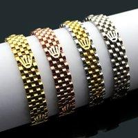 ingrosso orologi da polso unisex-Bracciale in acciaio 316 titanio e bracciale da donna e da donna Bracciale in oro rosa 18 carati bracciale e bracciale Lunghezza della catena 18,5 cm