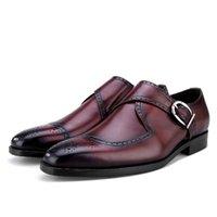 tan mens dress shoes leather 도매-패션 블랙 / 황갈색 스님 신발 남성 비즈니스 드레스 정품 가죽 사무실 신발 남성 웨딩 신랑 신발