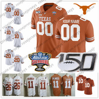 camisetas de texas al por mayor-Custom Texas Longhorns 2019 Fútbol Cualquier nombre Número Naranja Blanco 11 Ehlinger 7 Sterns 9 Collin Johnson Young Sugar Bowl NCAA 150TH Jersey