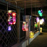 frascos de hadas al por mayor-Solar Powered Mason Jar Tapa DIY LED Fairy String Lights Party Garden Decor Light para luces de jardín interior LJJK1530