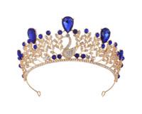 goldener kronendiamant großhandel-Retro Crown Braut Wasser Diamant Ehe Golden Crown Hochzeitskleid Zubehör von Queen Baroque