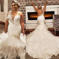 Wholesale pink wedding dresses shoulder resale online - 2020 Gorgeous One Shoulder Feather Beaded Organza Plus Size Wedding Dresses Backless Sexy Bridal Gown Mermaid robes de mariée