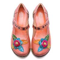 düz çiçekler vintage ayakkabılar toptan satış-Sıcak Satış-Vintage Stil Kadın Düz Ayakkabı Kadın Bahar Yaz Socofy Hakiki Deri Platformu Rahat Ayakkabılar El Yapımı Çiçek Yeni
