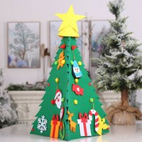 Wholesale decor doors for sale - Group buy DIY Felt Three sided Christmas Tree Set with Ornaments for Kids Gift Door Wall Hanging Decor