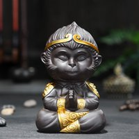 cerámica de té al por mayor-China 100% hecho a mano Yixing ZiSha ZINI Pottery Monkey SUNWUKONG Tea Pet