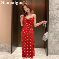 kırmızı polka nokta mini elbise toptan satış-2019 Yaz Baskı Polka Dot Elbise Kadın Spagetti Kayışı Midi Elbise Kadınlar Casual Streetwear Bohemian Kırmızı Sukienka