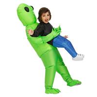trajes extraterrestres adultos venda por atacado-Engraçado Unicórnio Inflável Alienígena Me Pegue Traje Trajes de Festa de Halloween Inflável Explodir Trajes Adulto Crianças