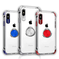 Wholesale phone case car mount for sale – best For Iphone xs max xr x plus phone case invisible ring bracket magnetic suction car mounts transparent air cushion shockproof cover