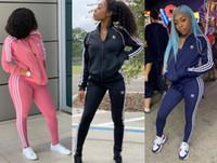 Wholesale zipper zip resale online - Women striped piece set tracksuit Cardigan pants sportswear jacket outerwear leggings outfit sweatshirt bodysuit fall winter clothing