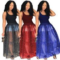 maschenkugeln perlen großhandel-Frauen lösen Ineinander greifen-Korn-Kleid-Sleeveless Behälter-Ballkleid-Kleid Mesh-Sommer-Partei-Perlenstickerei Tutu-Kleid LJ-JJA2512
