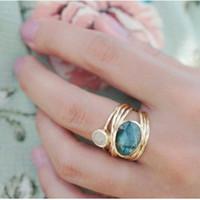 aqua blue rings toptan satış-Kadınlar Benzersiz 24 K Altın Labradorit 3 Aytaşı Aqua Mavi Kabuk Halka Düğün Takı Hediyeler Boyutu 6 7 8 9 10