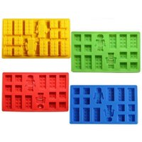 Wholesale toy moulds for sale - Group buy Square and Robot in Lego Toy Brick Shape Silicone Fandont Chocolate Mold Ice Cube Mould Cake Bakeware fondant cake tools