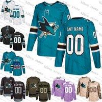 nouveaux maillots de hockey sur glace noirs achat en gros de-2019 nouveau noir personnalisé San Jose Sharks mens femmes jeunes hommes Teal Green Black camo flat usa personnalisé maillots de hockey sur glace cousu S-3XL