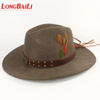 Winter Quality Feather Mens Wool Felt Cowboy Hats With Leather Band Chapeu  Masculino Free Shipping PWSX001