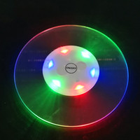 Wholesale acrylic tableware resale online - Ultra thin Colorful Flash Waterproof Cup Mat Glow Tunnel Bar Lighting Up Acrylic Club Bottle Drink Tableware LED Coaster