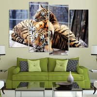 Wholesale mirrored panels for wall online - Home Decor HD Canvas Piece Baby Tigers Couple Cubs Framed Modern Print Animal Painting Wall Art For Living Room Modular Picture