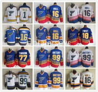 ingrosso vecchi pullover di hockey ccm-Maglia vintage St. Louis Blues CCM Old Time 16 Brett Hull 18 Tony Twist 44 Chris Pronger 77 Pierre Turgeon 99 Wayne Gretzky Hockey Maglie