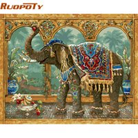 Wholesale paintings elephants for sale - Group buy painting RUOPOTY diy framed Elephant Vintage Painting By Numbers Kit Coloring By Number Unique Gift For Home Decor x50cm