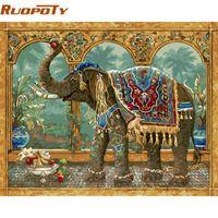 ingrosso regali unici di elefanti-pittura RUOPOTY fai da te incorniciato elefante pittura vintage per kit numeri colorazione per numero regalo unico per la decorazione domestica 40x50cm