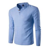 botones cuello en v al por mayor-Botón T Shirt Hombres Slim Fit Camisas de manga larga Camiseta sólida Camiseta de lino Top informal Blusa