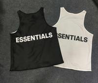 siyah örgü yeleği top toptan satış-YENI God of Essentials Korkusu Mesh Tank Top SIS yelekleri çift taraflı Yaz Tarzı için Siyah beyaz Giymek için Korku tanrı korkusu t-shirt Streetwear