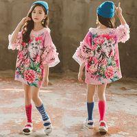 demi couronne achat en gros de-1 PCS Big Girls Dresses enfants lettre de fleur de chat couronne imprimés T-shirts Longs Robe enfants stéréoscopiques appliques demi-manches robe de princesse