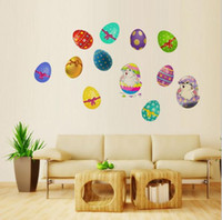 Wholesale free easter eggs resale online - Hot Sale Easter Bunny Egg Wall Stickers Children s Room Bedroom living Room Self Adhesive Removable Stickers DHL