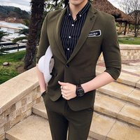 Wholesale color costume for sale - Group buy 2019 Wedding Suits For Men Terno Masculino Casual Slim Fit Dress Solid Color Groom Mens Suit With Pants Set Costume Homme