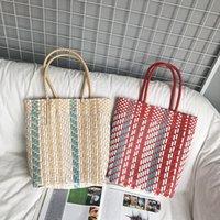 cestas de vegetais venda por atacado-Moda doce cor portátil Cesta vegetal Cesta de armazenamento Picnic compras de presente azul saco tecido plástico praia