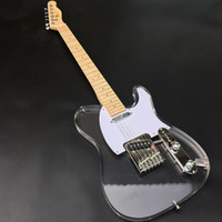 Wholesale acrylic guitar bodies resale online - Acrylic crystal electric guitar fingerboard and body with luminous lights chrome plated hardware