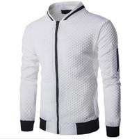 yeni erkek moda trendleri toptan satış-Erkek Veste Homme Bombacı Fit Argyle Fermuar Ceket Rahat Ceket 2019 Sonbahar Yeni Trend Beyaz Moda Erkek Ceketler Giysileri