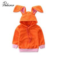 casaco de laranja inverno meninas venda por atacado-2019 marca recém-nascido da criança crianças bonito do bebê meninos meninas tops com capuz coelho 3d orelhas laranja inverno novo casaco quente outerwear 6m-3y
