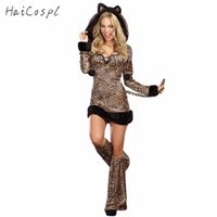 Wholesale sexy leopard halloween costumes for sale - Group buy ostumes Accessories Cosplay Costumes Sexy Halloween Leopard Costume For Women Animal Cat Cosplay Long Sleeves Hoodied Dress Performance P