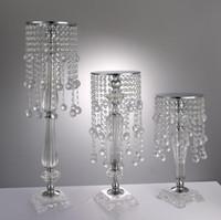 acryl blumen vasen großhandel-S größe Acryl Kristall Hochzeit Blume Halter Kristall blume ware Tabellenmittel Vase Stehen 43 cm hohe Hochzeitsdekoration