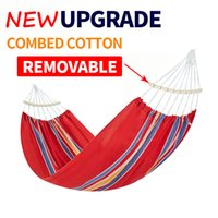 Wholesale single outdoor swing resale online - NEW High Quality Hammock x100cm single with Removable stick Garden swing Sleeping bed Outdoor Camping hanging chair