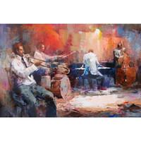 paneles de imagenes de pinturas al por mayor-Jazzband musical Pinturas al óleo de Willem Haenraets pintadas a mano arte moderno paisajes imagen de alta calidad