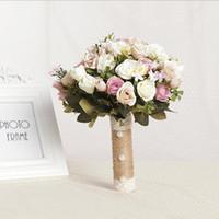 satin rosen blumenstrauß großhandel-Brautstrauß Europäische Chaiselongue Rosen künstliche Blumen Hauptdekoration Emulation bunt Boho Land Strand Hochzeit Bouquet