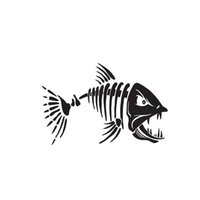 pegatinas de vinilo de pesca al por mayor-Pescado esqueleto de pesca huesos cráneo auto coche etiqueta de la pared calcomanía hermoso y fresco pegatinas de vinilo envoltura del coche
