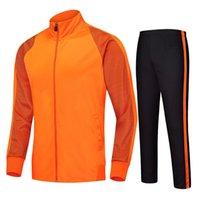 chaquetas de fútbol naranja al por mayor-Orange 2020 traje de entrenamiento de fútbol Jersey chándales de manga larga chaqueta de fútbol de los jerseys de fútbol trotar chándal chaqueta de cremallera pantalones largos