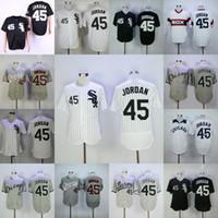 ingrosso bande di baseball pullover di ritorno-Chicago White Men Sox Jersey 45 Michael basso freddo Flexbase baseball maglie Bianco Grigio Nero S-3XL di trasporto