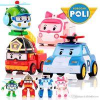 Wholesale anime robots toys resale online - ht hxldoor Set Robocar Poli Korea kids Toys Robot Transformation Anime Action Figure Toys For Children