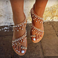 Wholesale plus size pearl shoes resale online - EOEODOIT Plus Size Sandals Women Boho Style Handwork Pearl Shoes Flat Heel Summer Beach Sand Casual Flats Sandals Thong Shoes