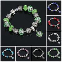 braceletes roxos venda por atacado-Pulseiras de cristal charme com roxo Murano Glass Beads pulseiras pulseiras Love Bracelet