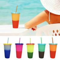 tasses colorées achat en gros de-Changement de température en plastique Tasses de couleur Coloré Couleur de l'eau froide Changement tasse de café tasse tasse Bouteilles d'eau avec pailles ensemble